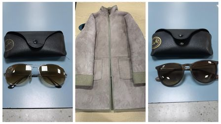 Police recovered two pairs of Ray Ban sunglasses and a suede jacket, along with some cash, during an arrest in Stevenage