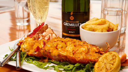 Lobster and champagne at Golden Grid in Scarborough