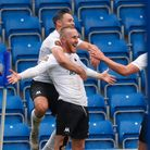 Goal celebration by Torquay United's Connor Lemonheigh-Evans during the match between Chesterfield and Torquay United