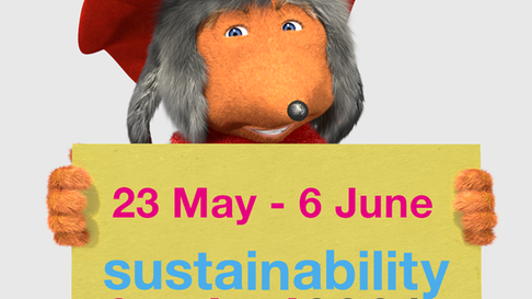 Orinoco the Womble promoting the St Albans Sustainability Festival