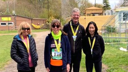 Sue Foot, Lucy O'Connor, Andrew Porterand Yuko Gordon of North Herts Road Runners