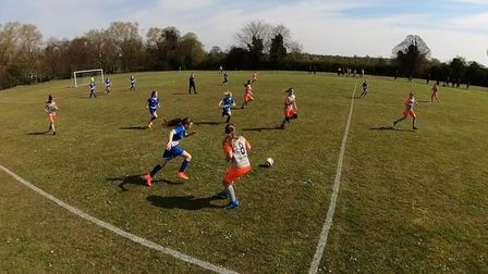 Hitchin Belles FC U12s in action