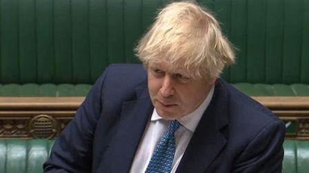 Boris Johnson during PMQs in the House of Commons. Photograph: Parliament TV.