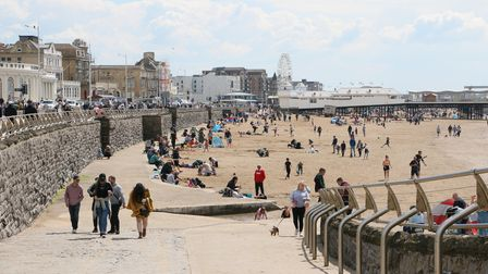 Hot weather brought flocks of people to Weston beach on Sunday.