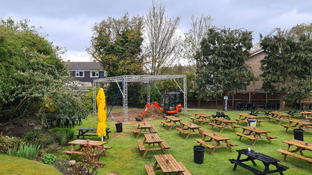 Work begins on the new outdoor stage at the Brickmakers music venue in Sprowston