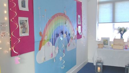In tribute to Julia Blackham, Marriotts School in Stevenage has put up a rainbow display as a symbol of hope and solidarity