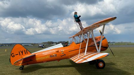 Angela Atkins Phillips ready for her wing walk for Hospiscare