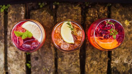 Infused gins using fruits and herbs from the garden.