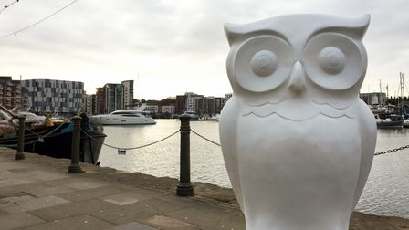 The first owl sculpture down on the Ipswich Waterfront