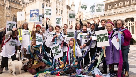 Swimming campaigners outside of the City of London Corporation's Guildhall HQ in 2020