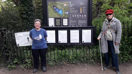 Mary Powell (left) vice-chair of the Kenwood Ladies' Pond Association with swimmer Ann Griffin