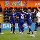 Chelsea's Samantha Kerr celebrates scoring their side's second goal of the game with team-mates duri