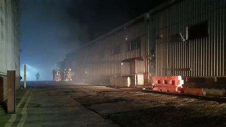 Firefighters at an industrial estate in Silvertown
