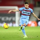 West Ham United's Aaron Cresswell in action during the Premier League match at St Mary's Stadium, So