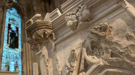 Details of the restored Shrine of St Amphibalus atSt Albans Cathedral