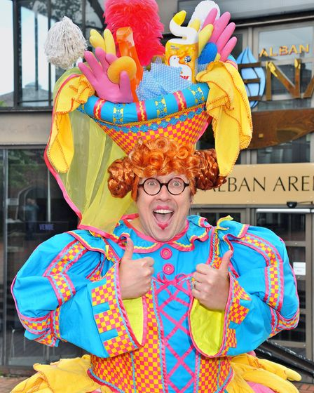 St Albans Sleeping Beauty pantomime star Bob Golding back in a dress outside The Alban Arena. Pictur