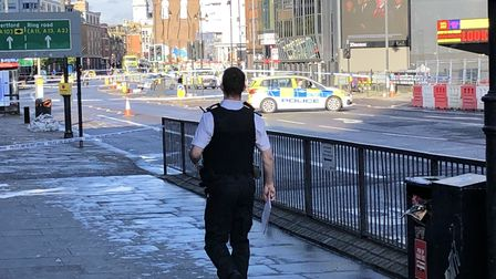 City Road was taped off after aman was stabbed outside Moorfields Eye Hospital