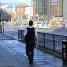 City Road was taped off after a man was stabbed outside Moorfields Eye Hospital