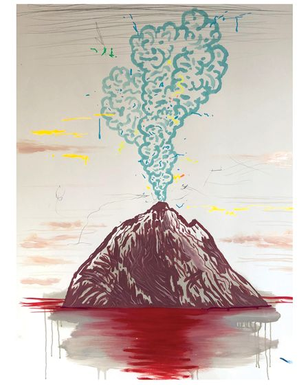 One of Paul Davis' volcano paintings on show at Jealous Galleriesin Shoreditch and Crouch End