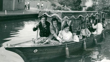 Jack Douglas, Freddie Davies and Norman Wisdom, pictured on board the steam launch Hero