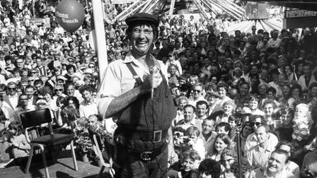 Comedian Jack Douglas pictured in 1971 at Yarmouth Pleasure Beach.