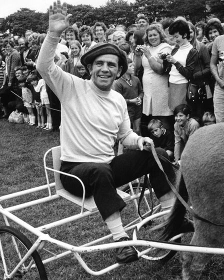 Norman Wisdom pictured in 1971 at the Round Table Donkey Derby at Beaconsfield Recreation ground