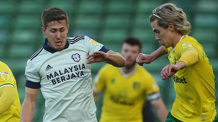 Todd Cantwell of Norwich, Kenny McLean of Norwich and Will Vaulks of Cardiff City in action during t