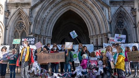 Children from Yerbury in Foxham Road, Archway staged a protest at the Royal Courts of Justice against Ocado's plans
