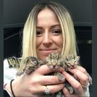 RSPCA animal rescuer Paige Burnham with the three kittens rescued in Burnham Market.
