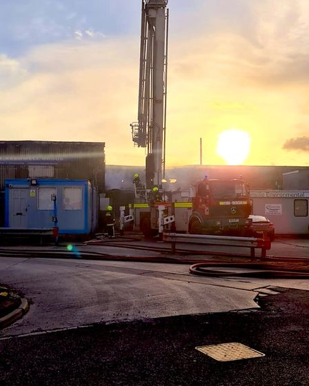 Firefighters tackled a blaze at Walrow Industrial Estate yesterday (Wednesday).