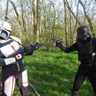 A picture of filming within Waresley Woods.
