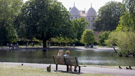 An elderly couple sitting by the lake in Regent's Park, London. (Photo by Jo Hale/Getty Images)