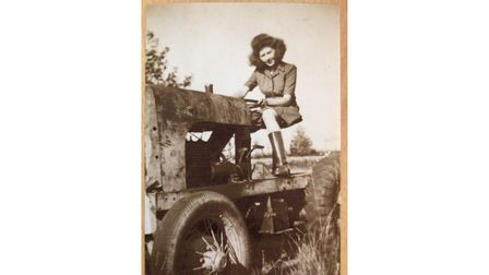 Jantje Huggins on her family's farm in the Netherlands in her youth