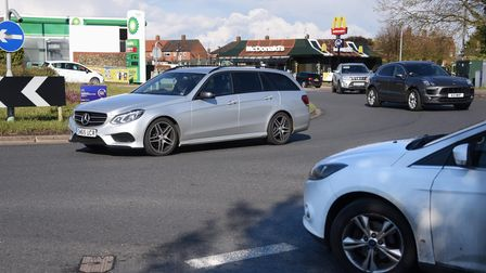 A big increase in traffic in Norwich. Pictured is the Tuckswood roundabout where Hall Road meets the