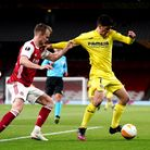 Arsenal's Rob Holding (left) and Villarreal's Moreno Gerard battle for the ball during the UEFA Euro