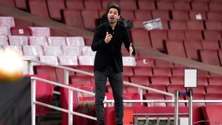Arsenal manager Mikel Arteta gestures on the touchline during the UEFA Europa League Semi Final at t