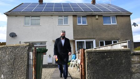 Leader of the Labour Party Sir Keir Starmer door to door canvassing in Keynsham, Somerset, whilst on
