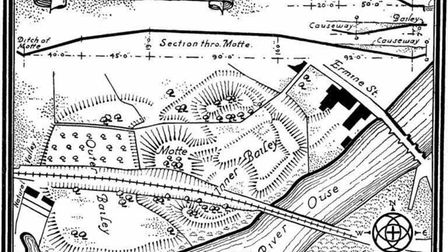 An old map showing the location of the castle and how the land would have looked.