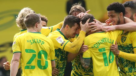 Xavier Quintilla of Norwich celebrates scoring his side's 3rd goal during the Sky Bet Championship m