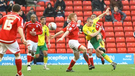 Andrew Crofts of Norwich scores his sides second goal at Barnsley
