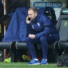 Ipswich Town Manager Paul Lambert and Matt Gill speak on the phone during the Sky Bet Championship m
