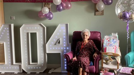 Joan Taylor, New Meppershall Care Home's oldest resident, turned 104 on May 6