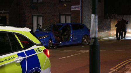 The blue BMW was stopped in Netherwood Street