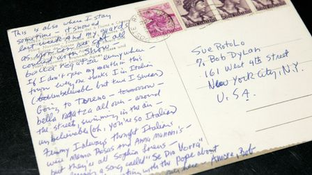 A postcard of the Piazza Navona, Rome, sent from Bob Dylan to Suzie Rotolo during their near-miss in the city
