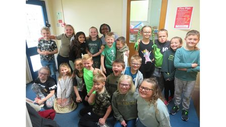 Children at Sprites Prime Academy on their Green Day for Deaf Awareness