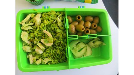 A green-themed packed lunch as part of Sprites' Green Day for Deaf Awareness Week