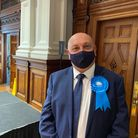 Cllr Carl Smith wearing a face mask