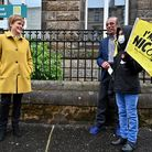 First Minister and leader of the SNP Nicola Sturgeon meets voters as she arrives to cast her vote