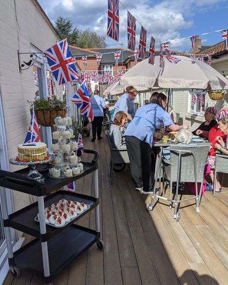 VE Day anniversary celebrations at Spring Lodge care home in Woolverstone, near Ipswich