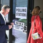 Labour leader Sir Keir Starmer and his wife Victoria arrive to cast their vote